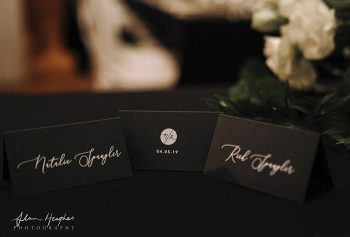 white ink printing on navy place cards