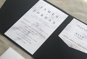 black and white marble invitation
