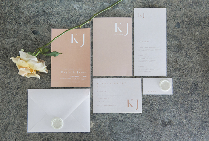 blush invitations wax seal