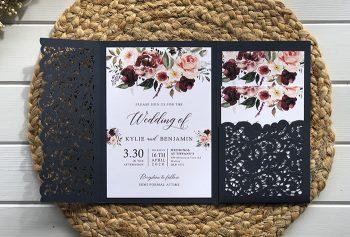 floral pocket invitation