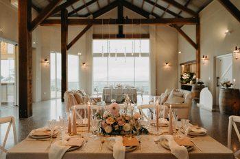 wedding styling setup blush