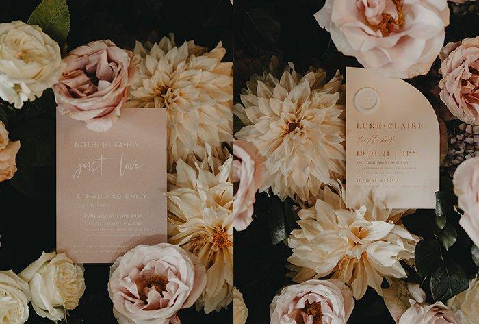 blush and peach invitation
