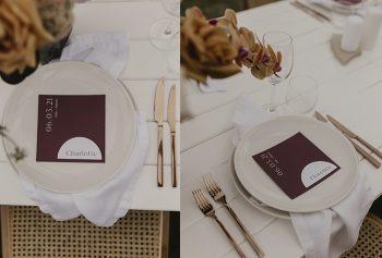 menu semi circle place card