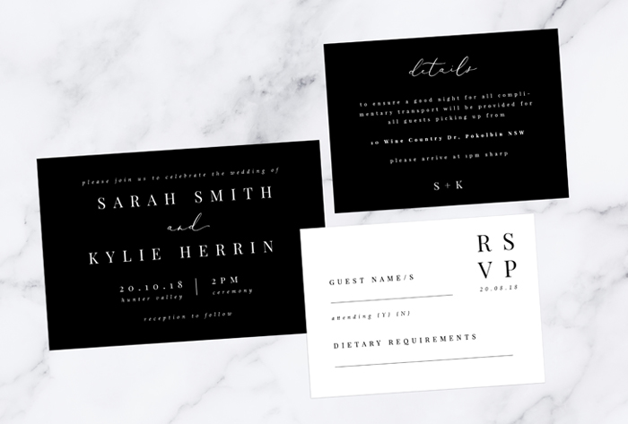 minimalistic black invitation