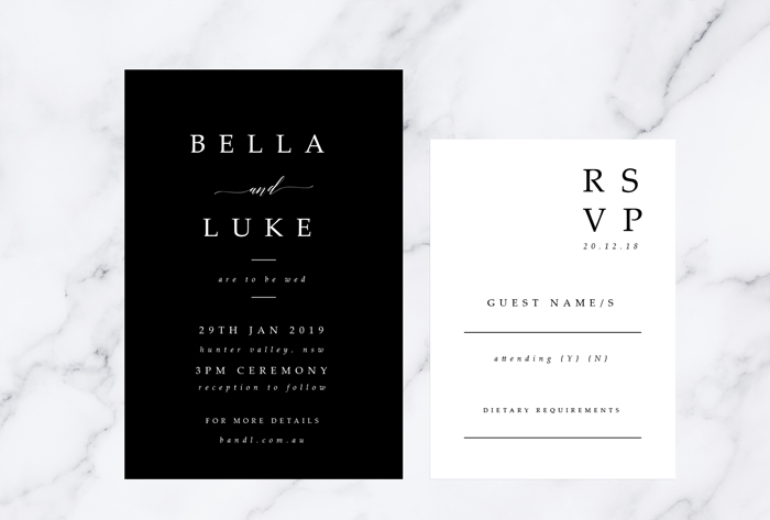 minimalistic invitations and rsvps