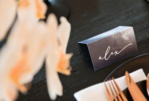 charcoal place card