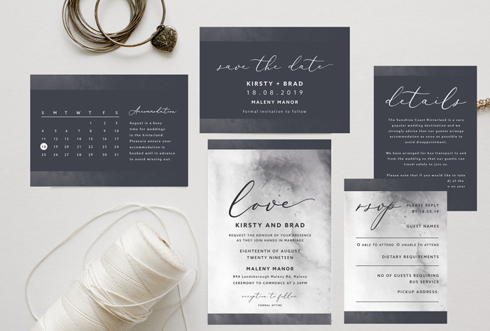 charcoal invitation suite