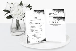 watercolour luxe wedding invitation