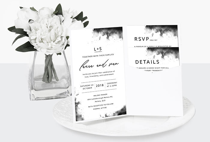 watercolour luxe wedding invitation