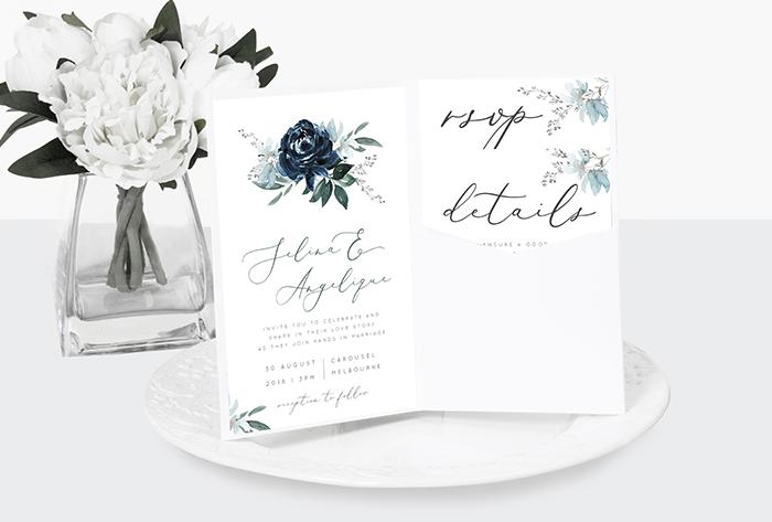 blue floral pocket invitations