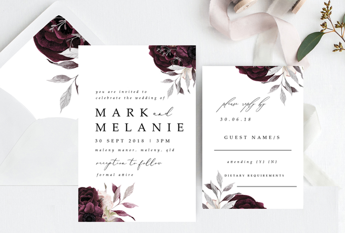 burgandy floral invitations