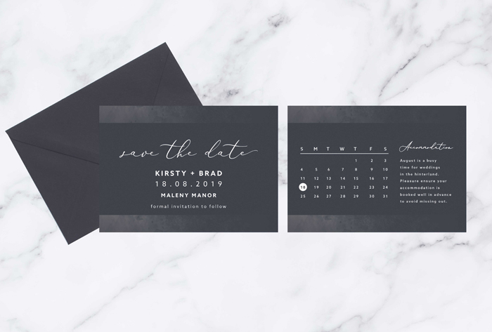 charcoal save the date cards