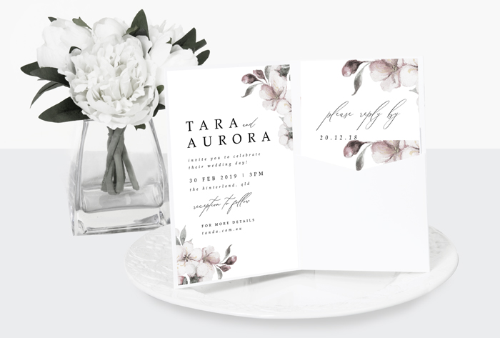 cherry blossom pocket invitation