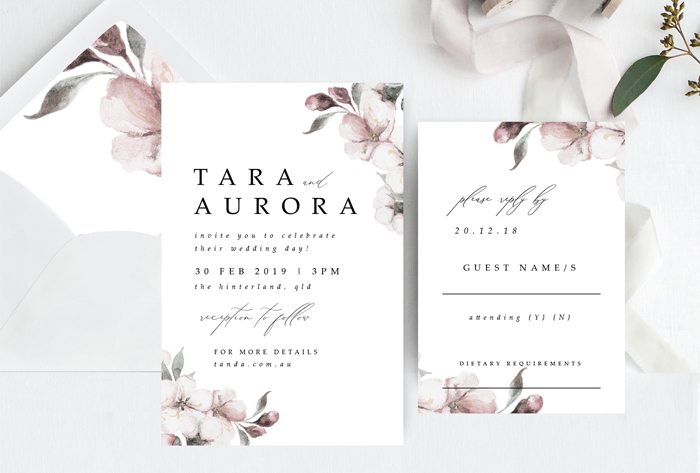 cherry blossom invitation suite