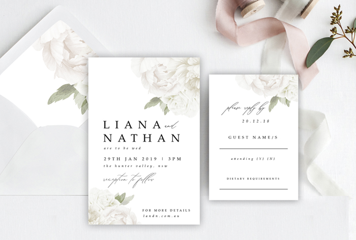 minimalistic white floral invitation