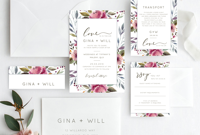 modern floral invitations