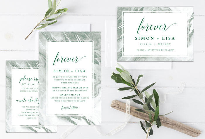 green marble invitation suite luxe