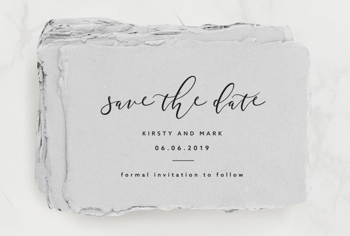 Wedding Stationery: Save the date on handmade paper grey
