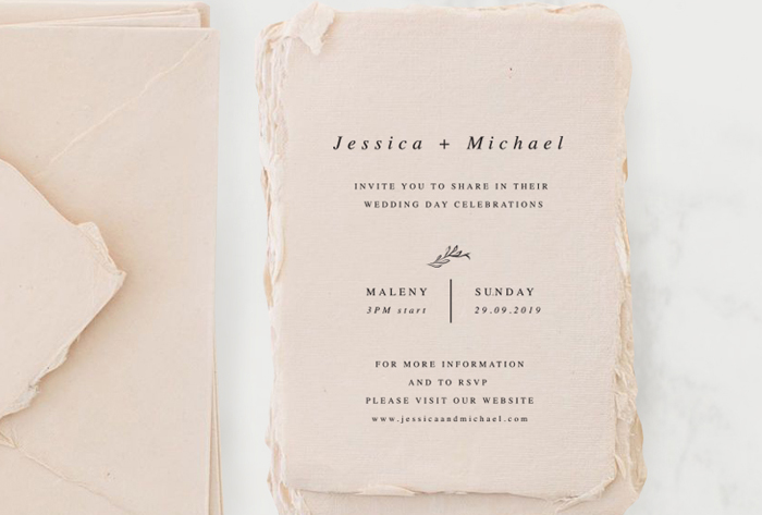 Wedding Invitaions: Handmade paper blush