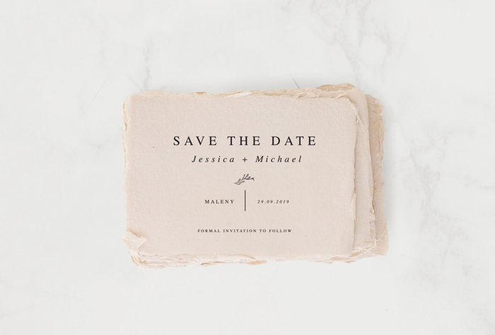 Wedding Stationery: Save the date blush