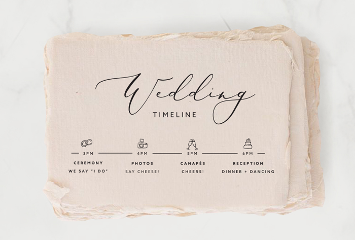 Wedding Stationery: Wedding timeline on handmade paper blush