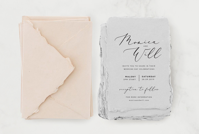 Wedding Invitation Handmade paper grey