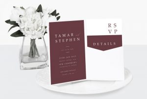 maroon luxe wedding invitation
