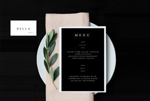 black and white menu