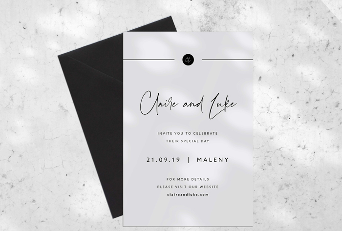 minimalist grey wedding invitations