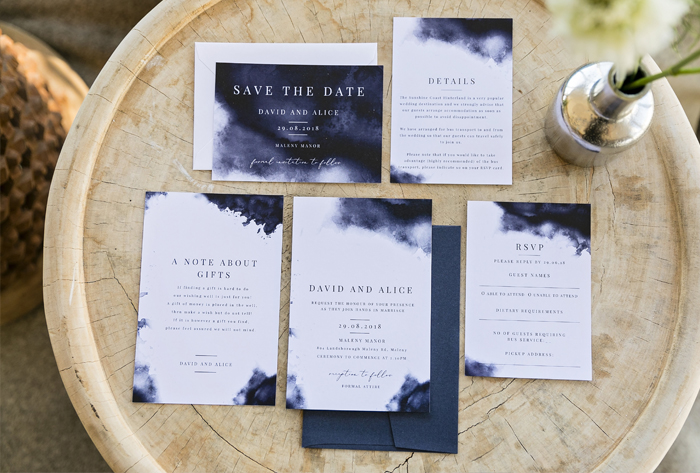 navy luxe wedding invitations