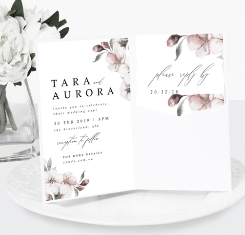 cherry blossom pocket invitations