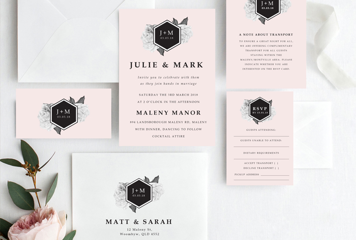 blush roses luxe invitation suite
