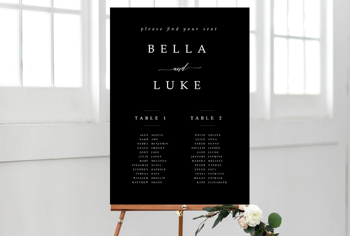 black and white luxe seating chart