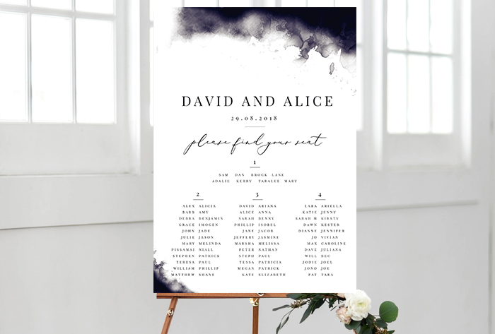 navy watercolour seating chart