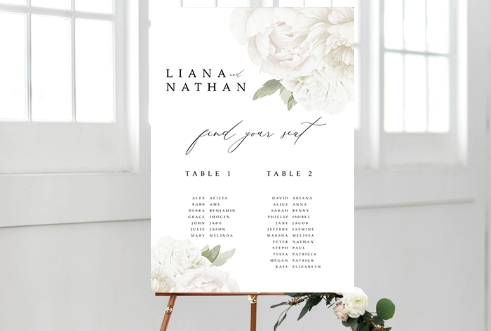 white minimalistic floral seating chart